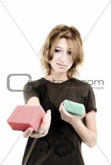 a girl with sponges