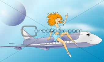 aircraft with comic girl