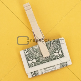 American Currency in a Clothespin