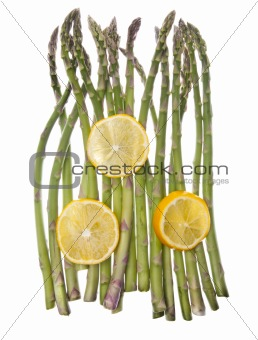 Asparagus and Sliced Lemons