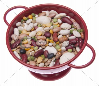 Brightly Colored Beans in a Colander