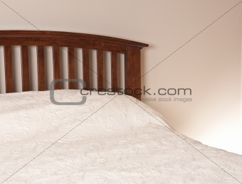 Bedroom Interior with Wooden Freshly Made Bed, and Neutral Wall and Linens.