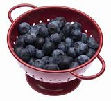 Fresh Blueberries in a Bright Red Colander