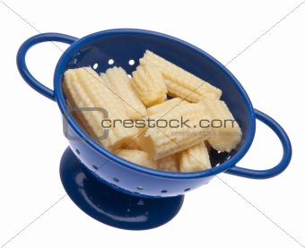 Baby Corn in a Blue Colander