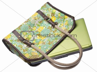 Floral Purse with Green Laptop Computer