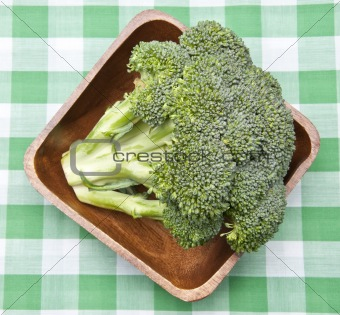 Broccoli in a Bowl on a Picnic Blanket