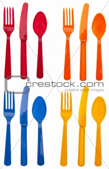 Sets of Vibrant Plastic Silverware