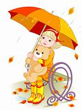 Little girl and Teddy Bear under rain