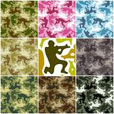 Camouflage set. Spots in the shape of men with weapons