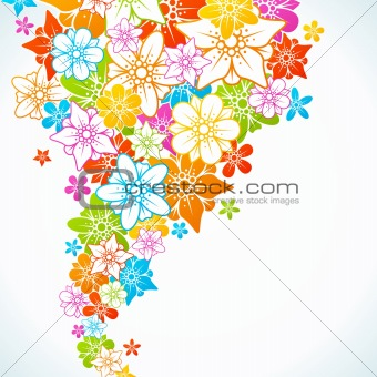Floral colorful background. Style flowers border frame.
