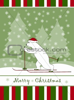 Christmas card with Christmas bear skier