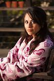 Pretty Hispanic Woman in Bathrobe