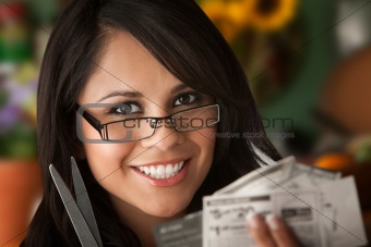 Beautiful Latina Woman with Coupons