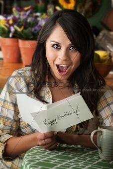 Beautiful Latina Woman with Birthday Card