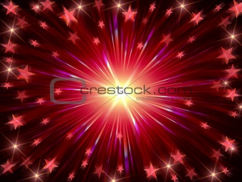 Christmas background radiate in red and violet