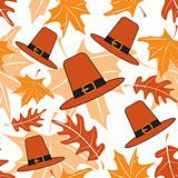 Autumnal seamless puttern with pilgrim hats