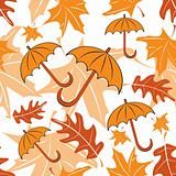 Seamless autumnal pattern with umbrellas