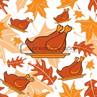 Autumnal seamless pattern with turkeys