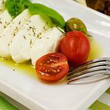 italian tomato mozarella close up