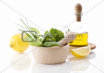 Olive oil, Healing herbs and lemon