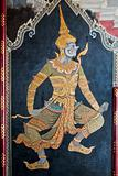 Thai art gold painting on wall
