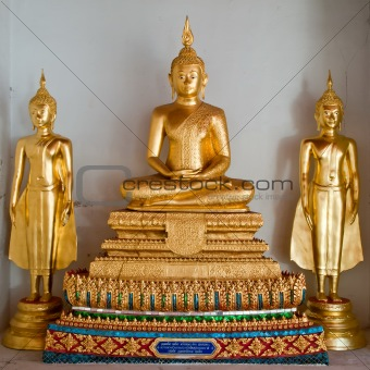 three thai golden buddha image