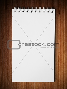 Long blank white note book vertical