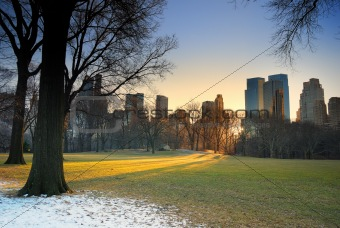 Central Park with sunset, New York City