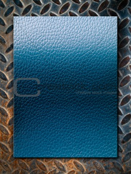 Blue leather texture on grunge steel plate