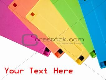 five color of old floppy disk