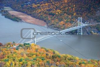 Bear Mountain bridge aerial view in Autumn