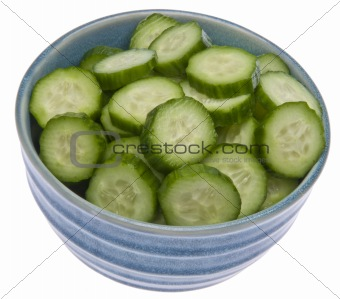 Fresh Bowl of Sliced Cucumbers