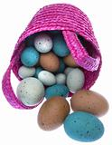 Pink Easter Basket with Eggs