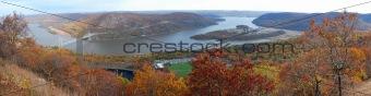 Bear Mountain Autumn panorama aerial view