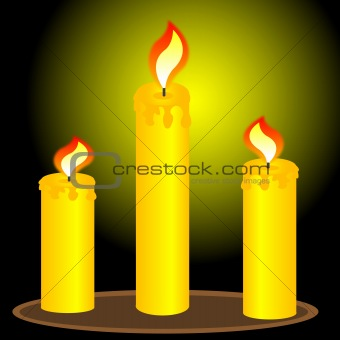 Three alight candles
