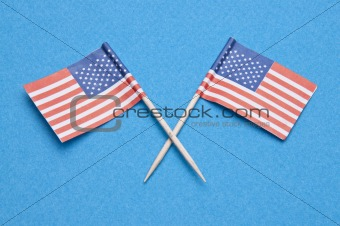 American Flags on Blue