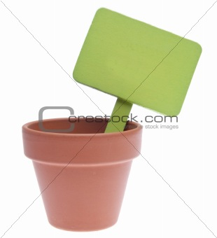 Clay Pot with Blank Green Sign
