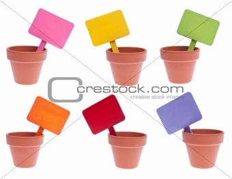 Group of Clay Pots with Vibrant Colored Blank Signs