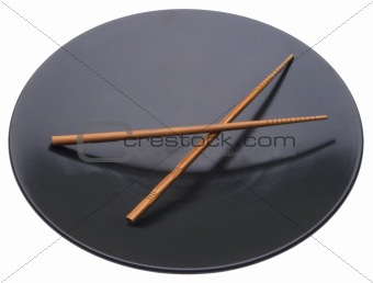 Black Plate with Chop Sticks