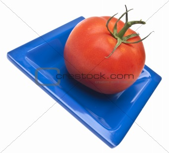 Tomato on a Blue Dish