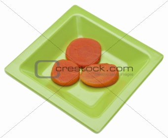 Carrots on a Vibrant Green Dish