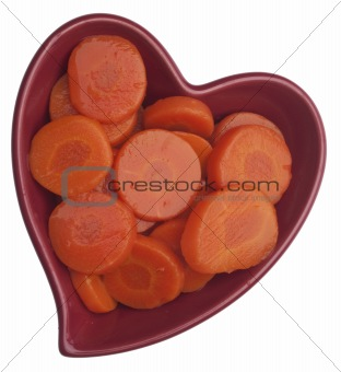 Carrots in a Heart Shaped Bowl