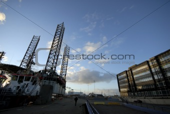 Oil rig and office building