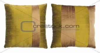 Pair of Striped Silk Throw Pillows