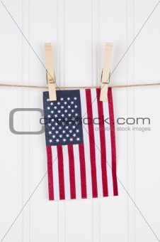 American Flag on a Clothesline
