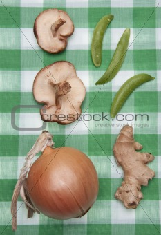 Group of Vegetables on a Green Checkered Cloth