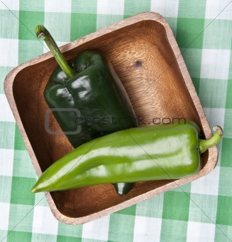 Green Peppers in a Bowl on a Picnic Blanket.