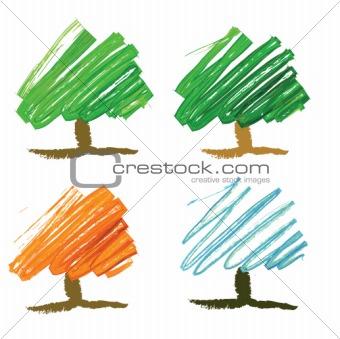Four seasonal tree drawing