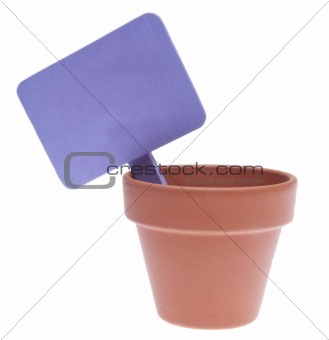 Clay Pot with Blank Purple Sign