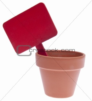 Clay Pot with Blank Red Sign